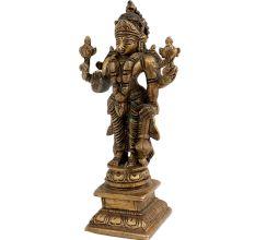 Brass Statue Of Lord Vishnu Standing Narayan Holding Club