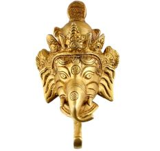 Magnificent Brass Ganesha Face Single Hook