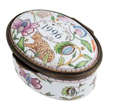 Hand painted Oval  Tiger Forest Porcelain Box