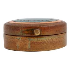 Round Blue Painted Copper Storage Box