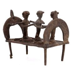 Tribal Brass Three Villagers Rowing A Boat Showpiece