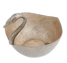 Brass Duck Bowl Planter Pot In Silver Polish
