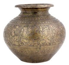 Carved Brass Holy Water Pot Hindu God Vishnu Dashavatar