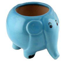 Hand Crafted Ceramic Blue Round Elephant Planter Pot