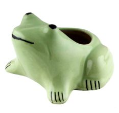 Hand Crafted Ceramic Green Frog Pot For Outdoor Plants