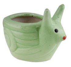 Green Ceramic Snail Planter Pot