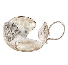 Nickel Plated Cup Holder With Floral Decoration