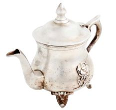 Brass Nickel Plated Kettle Tea Pot With Decorative Legs