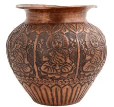 Copper Pot Engraved Goddess From Bihar