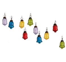Multic-Color Bell Combo Glass Tiny Christmas Hanging Set of 25