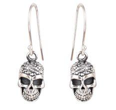 Human Skull 92.5 Sterling Silver Halloween Earrings