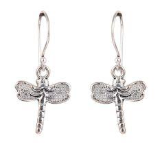 92.5 Sterling Silver Dragon Fly Hoop Dangle Earrings