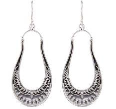 92.5 Sterling Silver Long Classic  Dangle Earrings