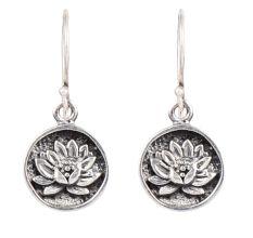 Lotus Flower Round 92.5 Sterling Silver Earrings