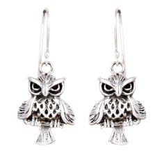 92.5 Sterling Silver Owl Drop & Dangle Earring