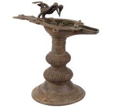 Brass Oil Lamp Diya Stand With Twin Peacock Figurines