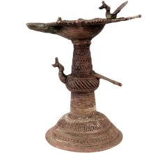 Peacock Brass Oil Lamp Traditional Engraved Worship lamp
