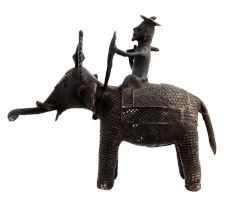 Hand Made Brass Tribal Man  Elephant Figurine