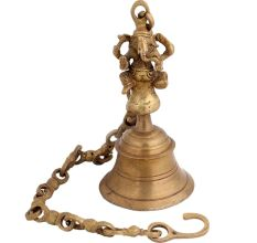Traditional Brass  Ganesha Figurine Temple Bell With Long Chain