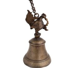 Brass Peacock Figurine Temple Bell With Long Chain