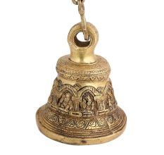 Ganesha Figurine Brass Hanging Bell With Chain
