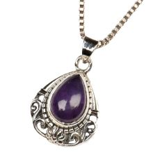 Purple Stone Engraved 92.5 Sterling silver Pendant