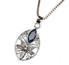 Starry Flower Blue Stone 92.5 Sterling Silver Pendant Jewelry