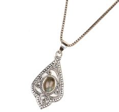 Semi Precious 92.5 Sterling Silver Pendant Necklace