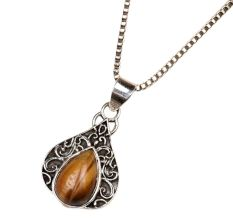 Tiger Eye Border 95.5 Sterling Silver Pendant