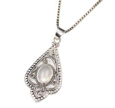 Moonstone Engraved Leaf 92.5 Sterling Silver Pendant