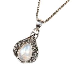 Teardrop Moonstone Embedded 92.5 Sterling Silver Pendant Jewelry