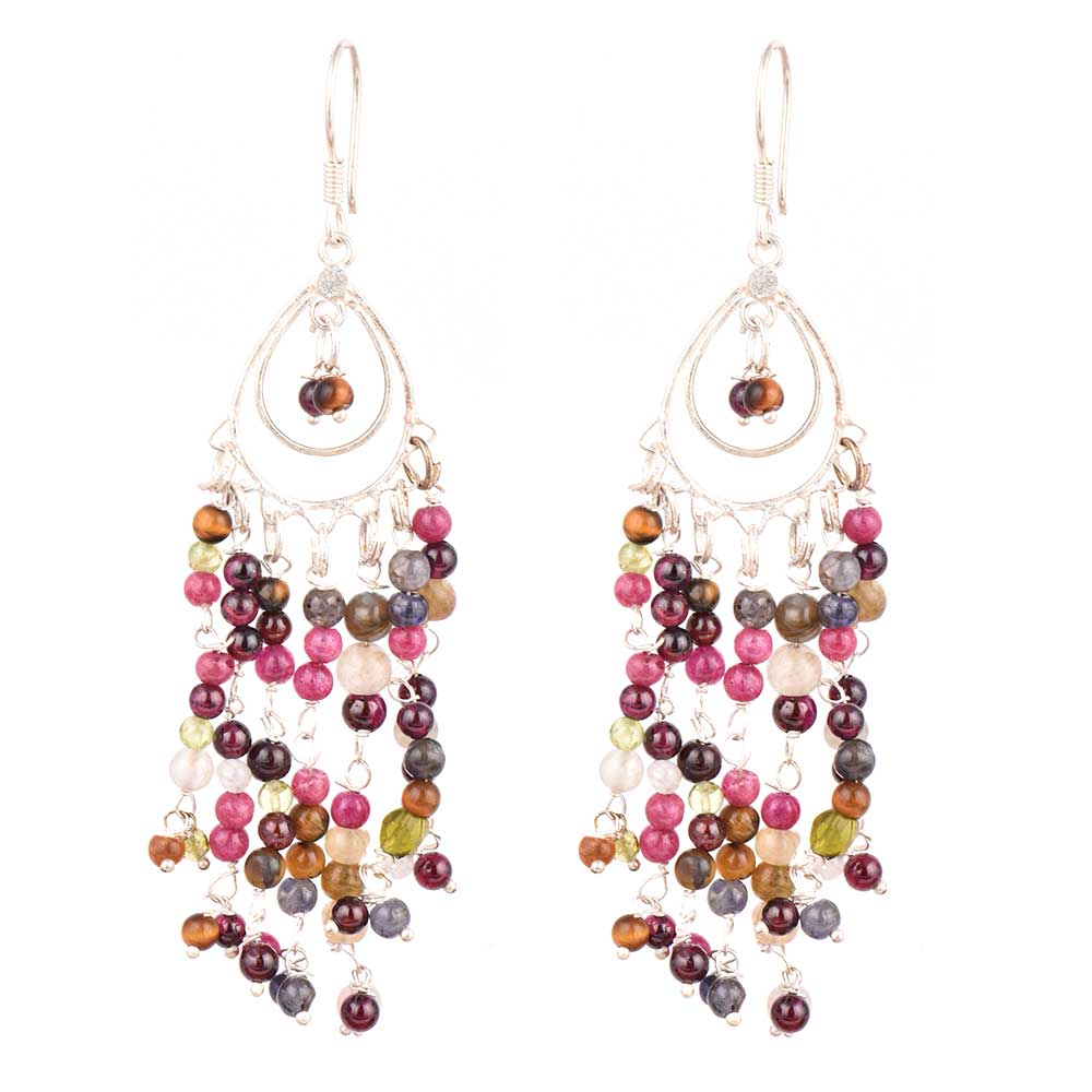 Multi colored Gypsy Boho Tassel Sterling Silver Earrings