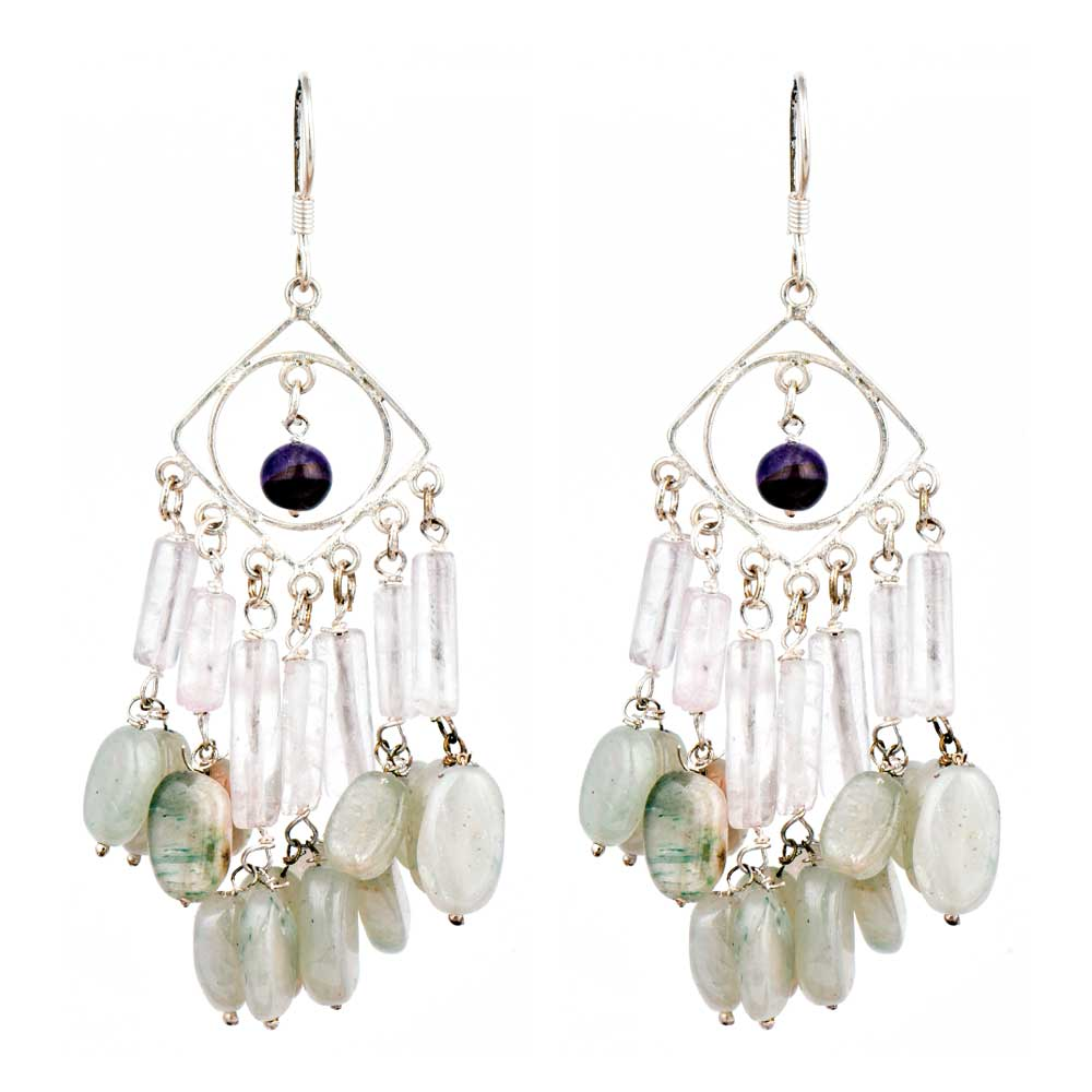 Different Shapes White Beads Long Sterling Silver Tassel Earrings