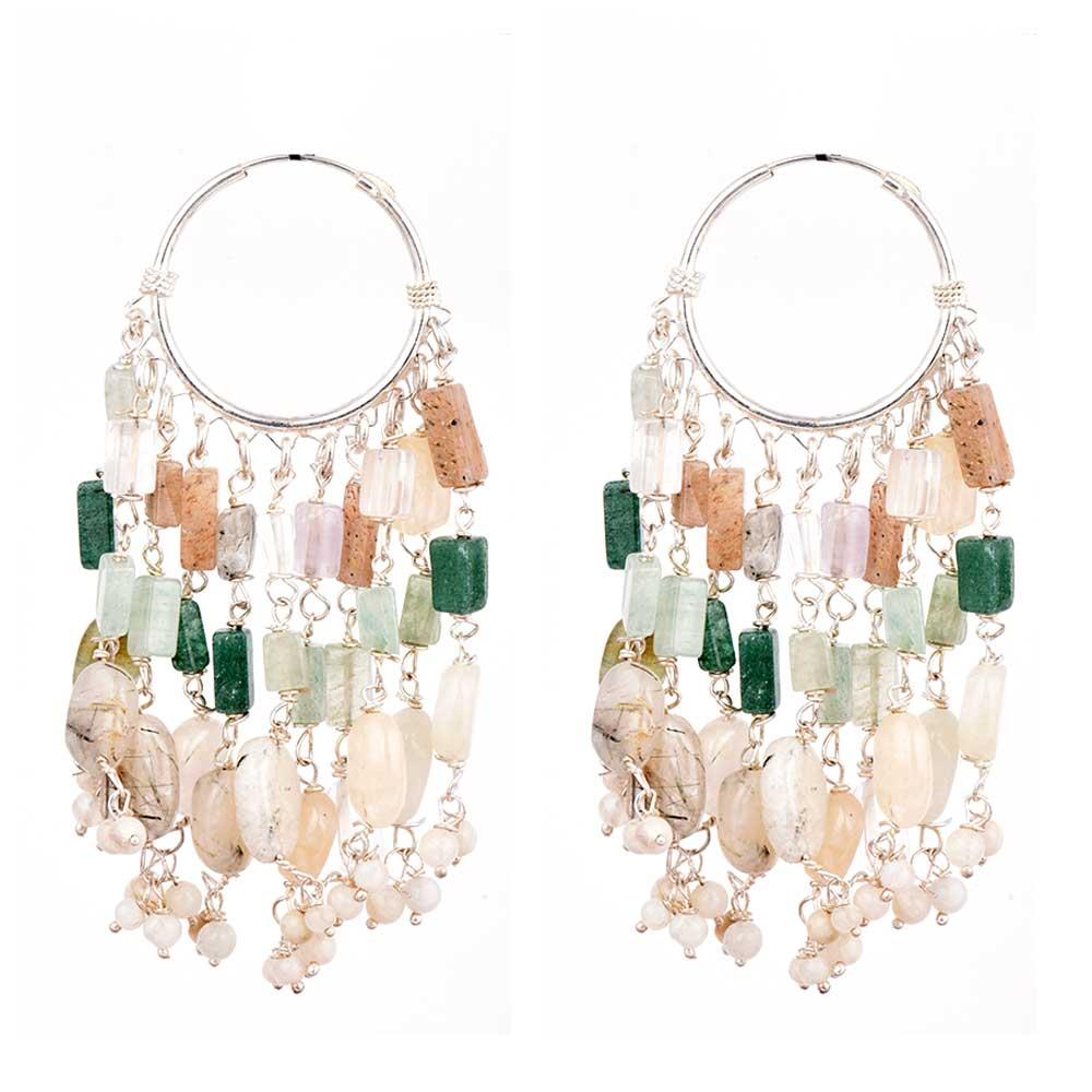 Sterling Silver Earrings Beaded Bali Hoop Chandelier Hangings