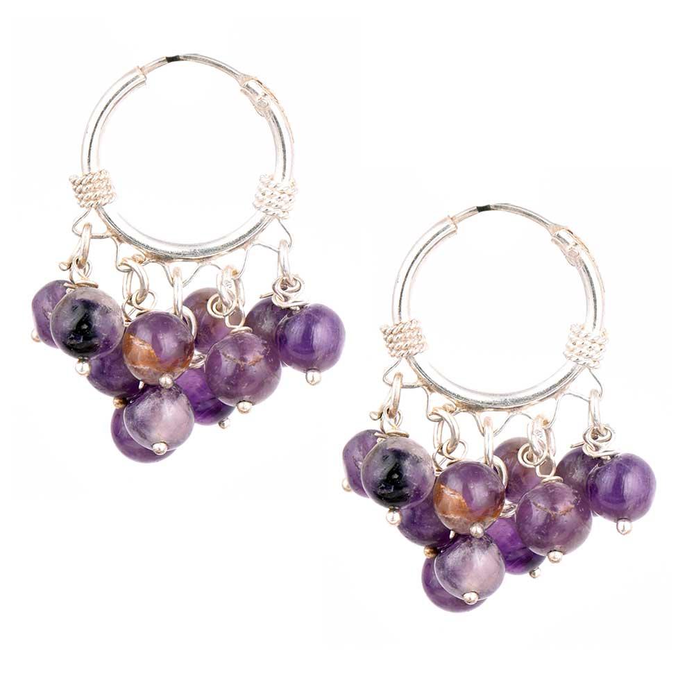 PurpleRound  Stone Bead Nuggets Sterling Silver Hoop Earrings