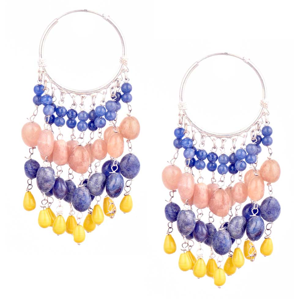 Multi colored Stone Sterling Silver Beaded Bali Hoop Chandelier Earrings
