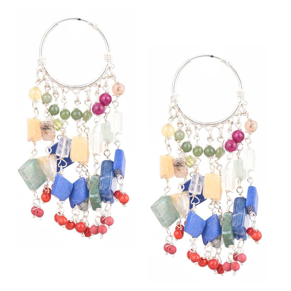 Colorful Stone Bead Sterling Silver Bali Hoop Earrings