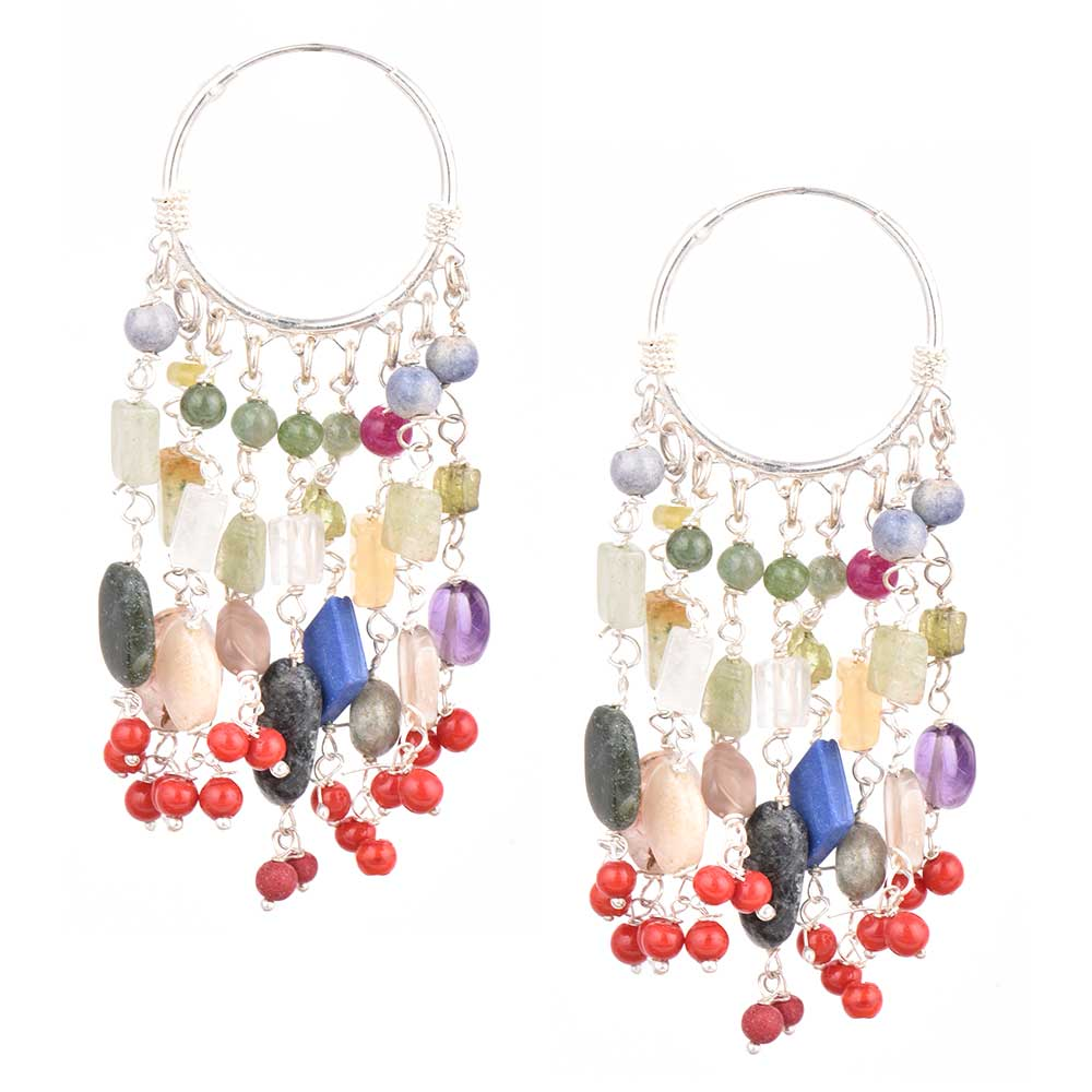 Sterling Silver Bali Hoop Earrings With Multi colored Stone Tassel