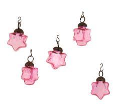 Pink Star Combo Glass Tiny Christmas Hanging Set of 25