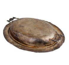 Brass Silver Coated Engraved Serving Bowl With Lid