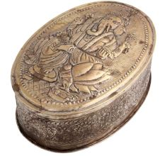 Oval Ganesh Engraved Floral Design Box