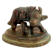 Brass Kamdhenu Cow With Calf Worship Statue