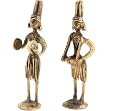 Brass Tribal Musical Couple Statue In Pair
