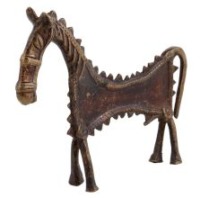 Brass Elongated Horse Tribal Statue