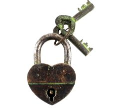 Brass Heart Shaped Lock and Keys In Pair With Patina