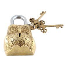 Decorative Owl Padlock With Lock And Skeleton Keys