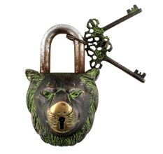 Brass Lion Shape Lock with Keys In Patina Finish