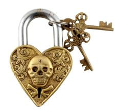 Brass Skull Face Heart Shaped Lock With Skeleton Keys