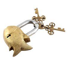 Golden Fish Lock With Skeleton Key In Pair