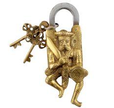Brass Door Padlock Maratha Warrior Sculpture